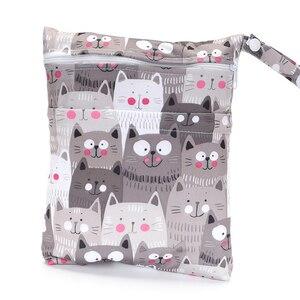 Двухслойная влажная сумка, водонепроницаемая тканевая сумка, коляска, многоразовая сумка, Детская набивная маска для подгузников, тканевая...
