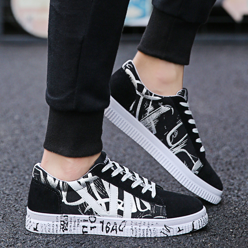 Male Shoes High-Help New Spring Tide Canvas Korean-Edition Men's