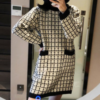 Luxury Designer Women Fashion Plaid Jacquard Pockets Long Sleeve Round Collar Holiday Casual Knit Sweater Mini Dress Dresses S L