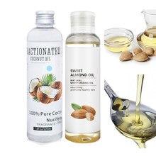 100% puro orgânico óleo de amêndoa doce óleo de coco frio pressionado hidratante essencial corpo spa massagem óleo nutritivo cuidados com a pele