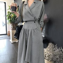 2019 Autumn Turn-down Collar High Waist Irregular Dress Women Fashion Long Sleeve A-line Dress Loose Midi Dress long sleeved dress women 2019 spring summer new simple stripes turn down collar slim a line casual elegant dress midi s xl