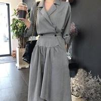 2019 Autumn Turn down Collar High Waist Irregular Dress Women Fashion Long Sleeve A line Dress Loose Midi Dress