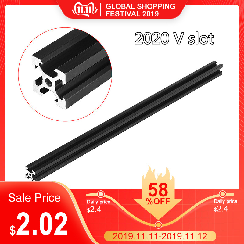 100-<font><b>1000mm</b></font> Black <font><b>2020</b></font> V-Slot Aluminum <font><b>Profile</b></font> Extrusion Frame for CNC Laser Engraving Machine 3D Printer Camera Slider Furniture image