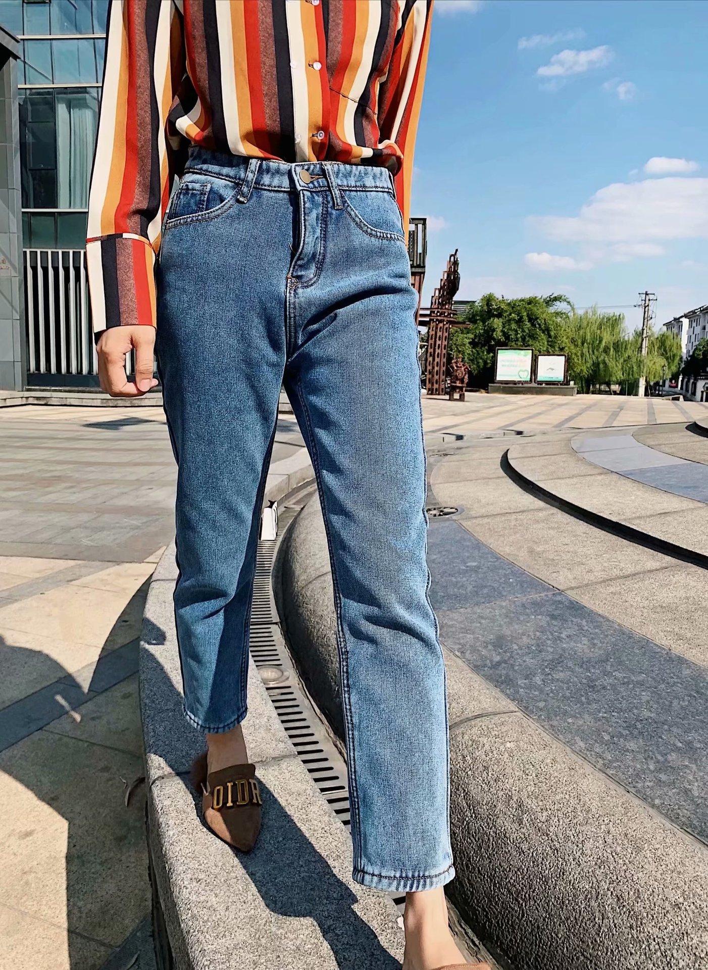 Новые осенние и зимние 2019 женские дикие базовые модели плюс толстый бархат Теплые повседневные джинсы брюки-27210