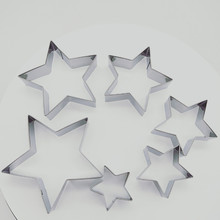 6pcs/set Cookie Molds Star Shape Biscuit Cutters Stainless Steel Cake Decoration Fondant Cutter Baking tools custom made 3d printed star wars logo fondant cookie cutter set