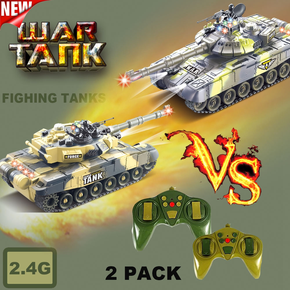 2 PACK RC tanks 2.4G Fighting Battle Tanks with LED Life Indicators Realistic Sounds Remote Control Boy Toys For Kids Children