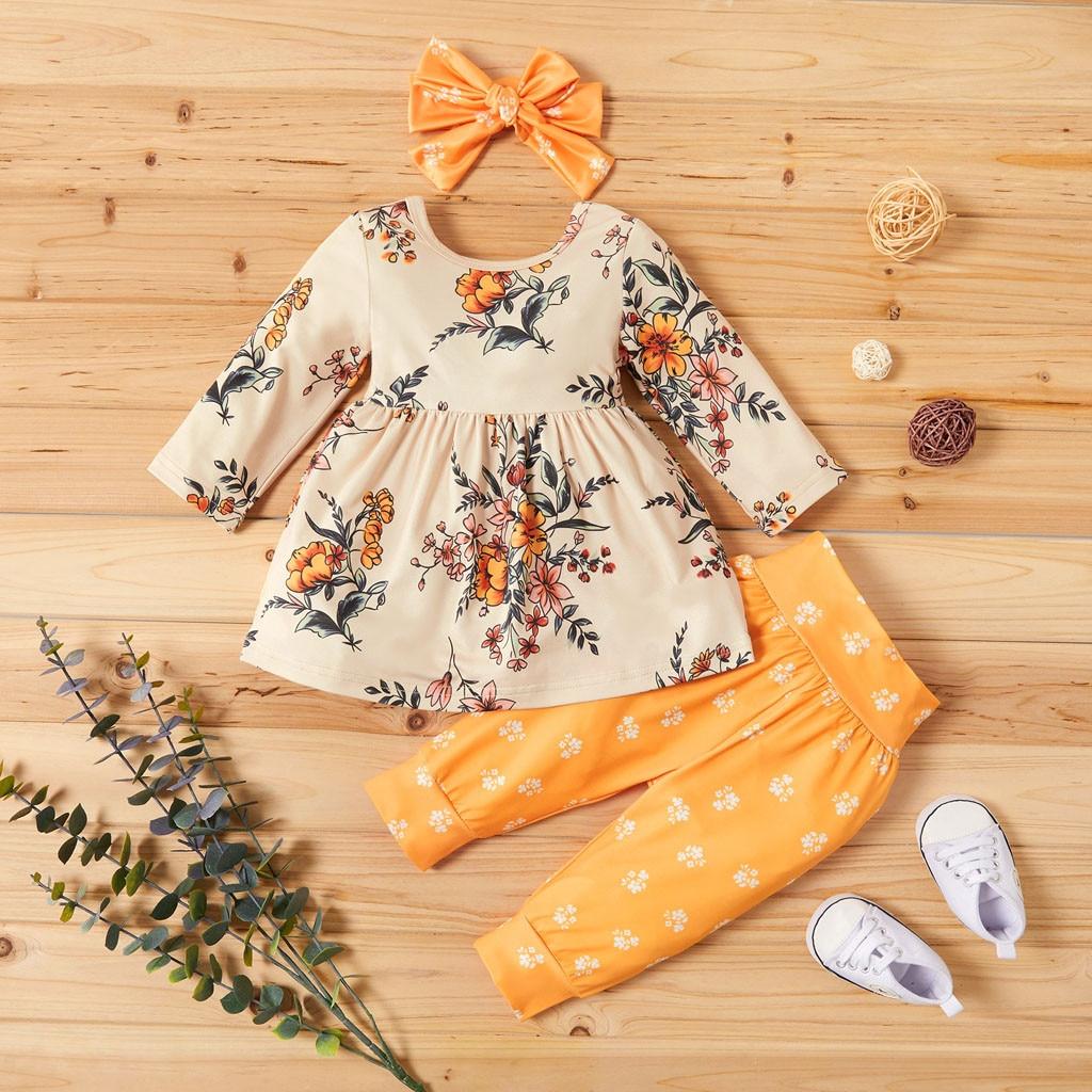Baby Girl Clothes Newborn Clothes Ropa Niña одежда для новорожденных Toddler Kids Tops Bowknot Floral Pants Headbands Costume #4