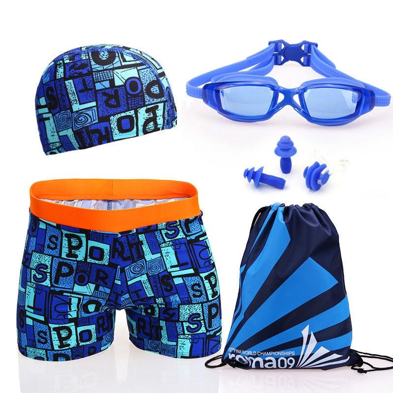 Teenager | Big Boy Swimming Trunks Men Wide Waist Comfortable Boxer Students Swimming Trunks Swimming Cap Set Fat Children Fashi
