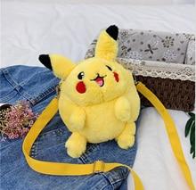 Handbags Picachu Plush Bags Cartoon Cute Yellow Strap Bags Plush Bags Personality Messenger Bags Keep Warm