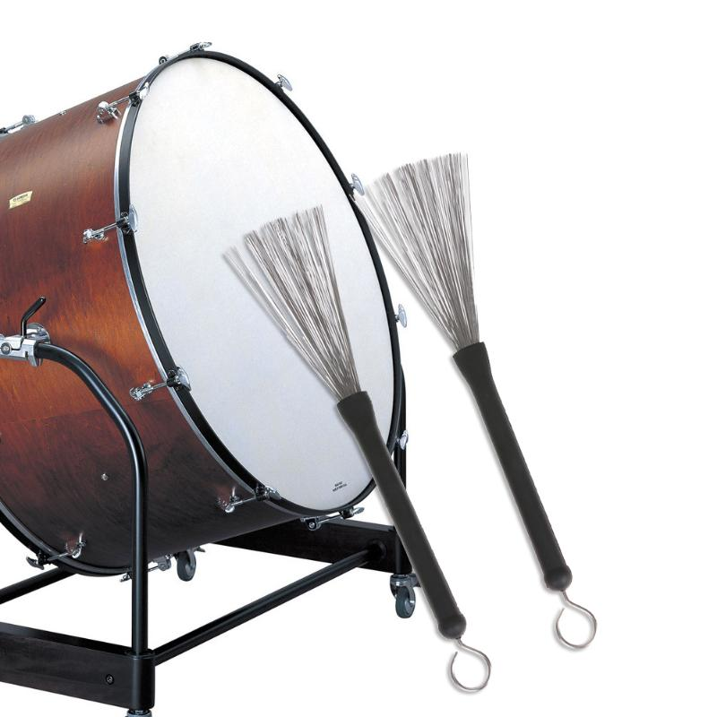 1 Pair Professional Drum Brushes Retractable Loop End For Jazz Drum Stick With Smooth Rubber Handle Musical Accessories