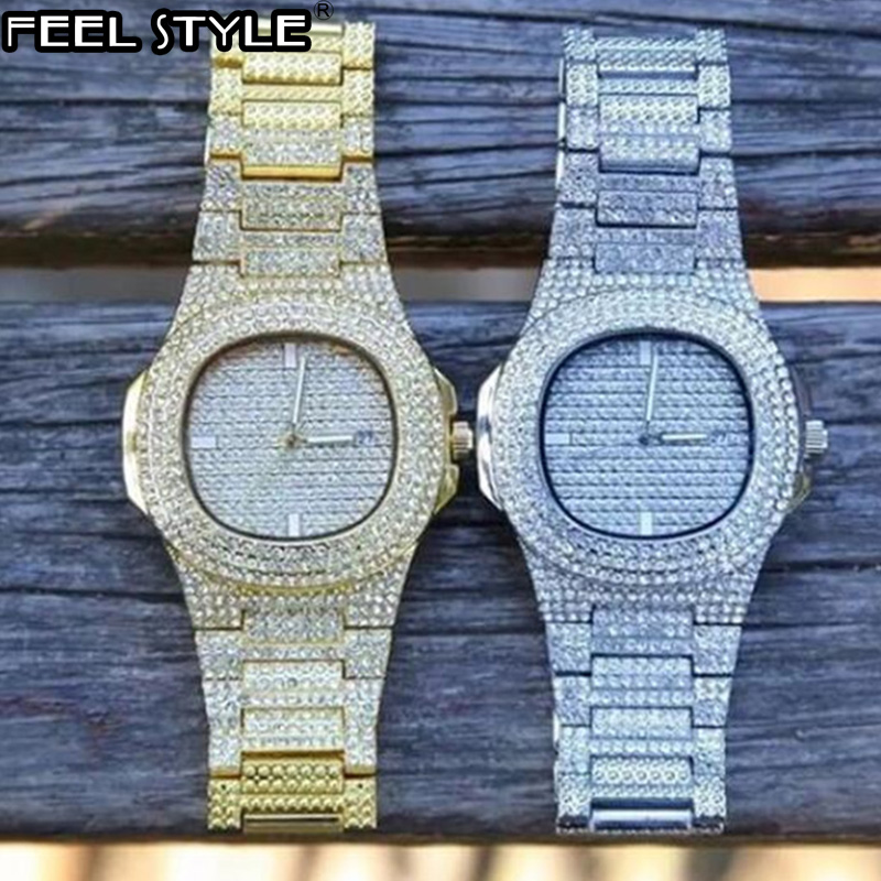 5 Colors Men Iced Out Watches Luxury Date Quartz Wrist Watches With Micropave CZ Watch For Women Men Hip Hop Jewelry