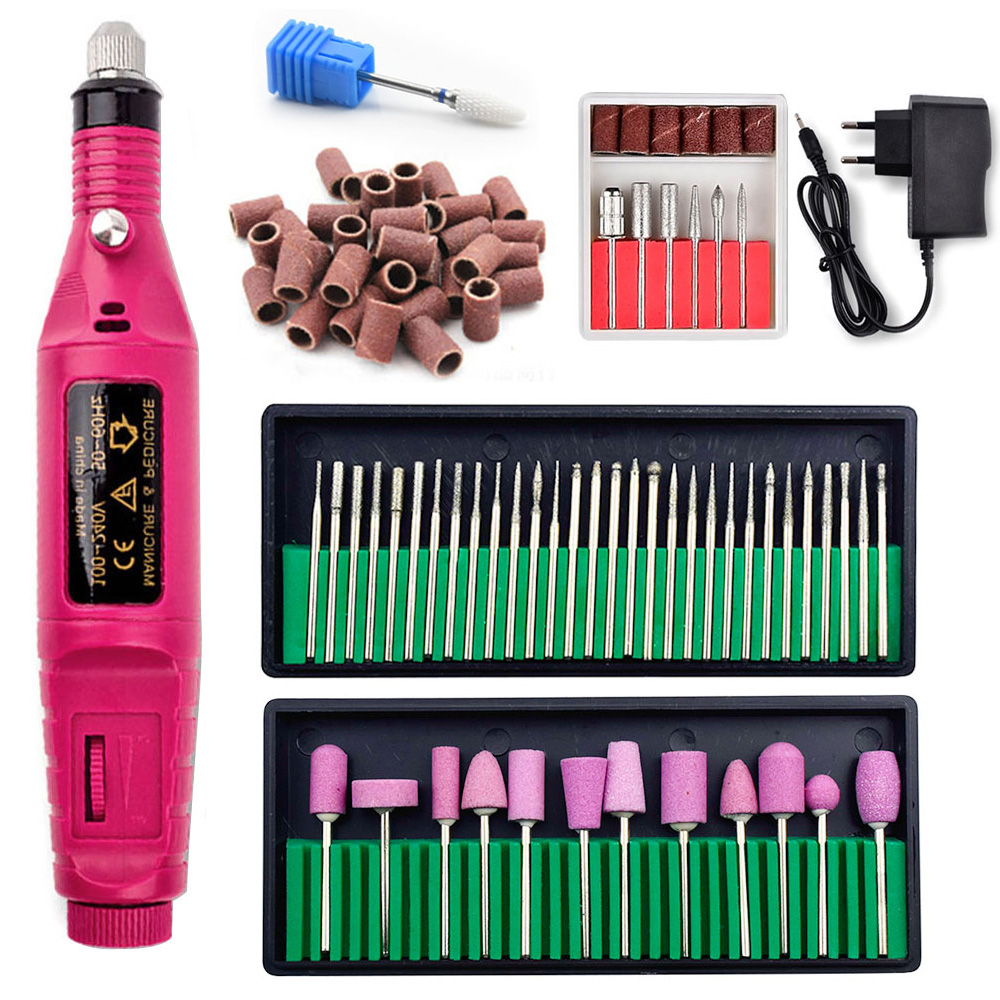 1 Set Portable Electric Nail Drill Machine Manicure Set Pedicure Nail Gel Remover File Professional Strong Nail Polishing Tools