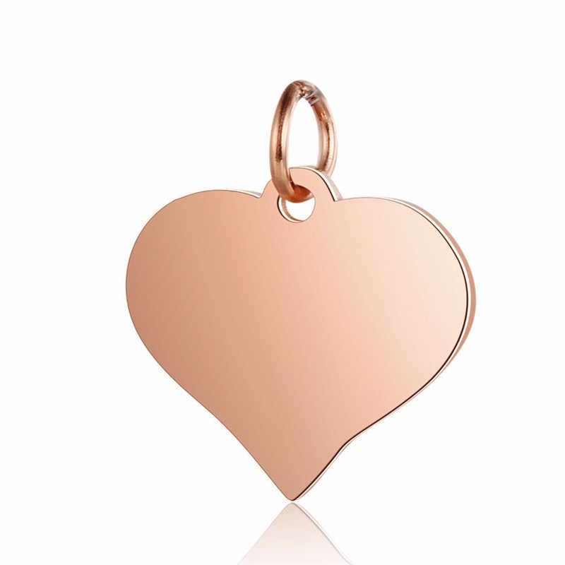 X-ROYAL 5 قطعة/الوحدة وردة ذهبية الذهب لون القلب شكل أساور سحر DIY النتائج مجوهرات الفولاذ المقاوم للصدأ عشاق قلادة المعلقات