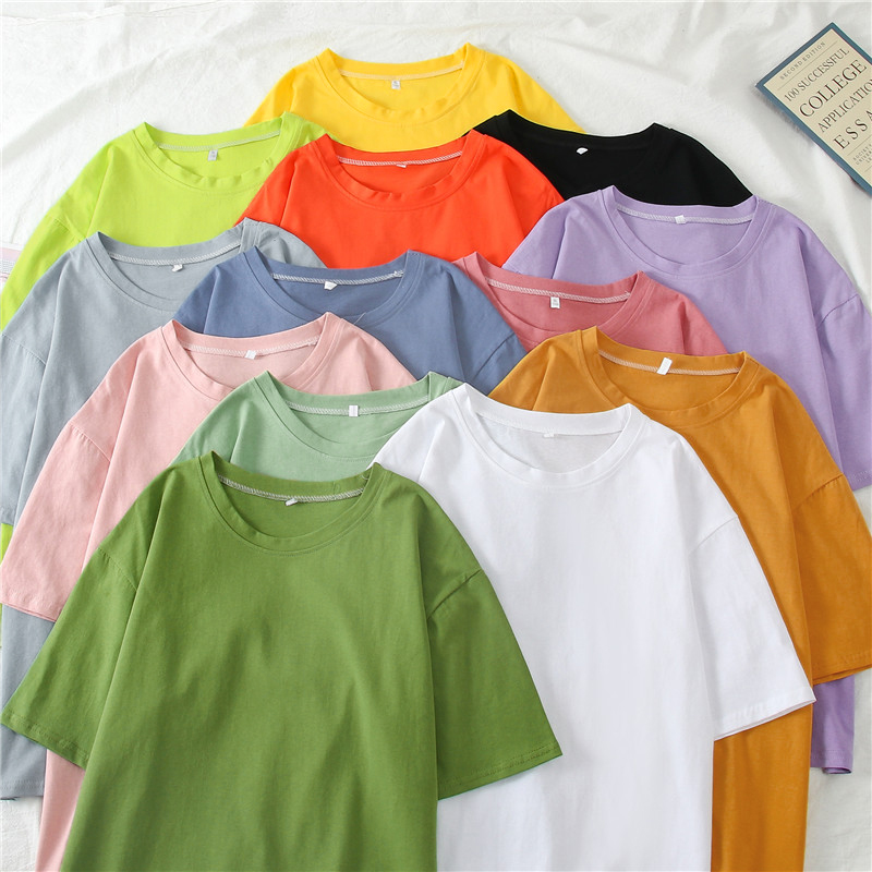 Summer Ins Women Short Sleeve T-shirt Fashion Minority Design Couple Candy Solid Color Tops Large Size Round Neck Tee Shirt
