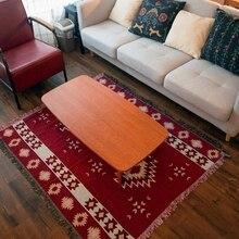 Rojo Retro geométrica manta pícnic al aire libre de estilo étnico vintage manta India geométrica casa alfombra para salón