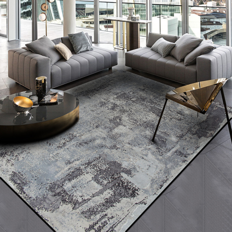 Modern New Nordic Abstract Cement Grey Ink Carpet Crystal Velvet Bedroom Door Living Room Large Rug Floor Mat Parlor Tapete Sofa
