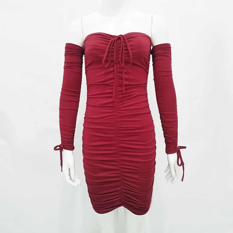 SheBlingBling сексуальное Белое Бандажное платье с открытыми плечами и рюшами женское мини облегающее платье 2019 осенне-зимнее вечернее платье с длинными рукавами