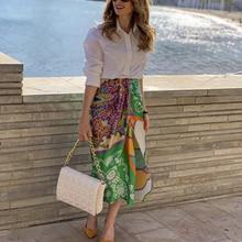 Woman Vintage Green Irregular Print Skirt 2021 Summer Casual Female Patchwork Skirts Ladies High Waisted Skirt
