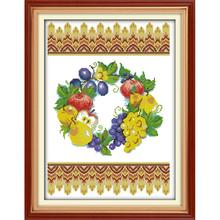 Joy Sunday Fruits Tapestry Counted Cross Stitch Kits 11&14CTCross Stitch Embroidery Needlework for Home Decor Handmade DIY Gift joy sunday sweetnessand poetic counted cross stitch 11