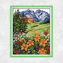 Набор для вышивки крестиком joy sunday snow mountain in spring