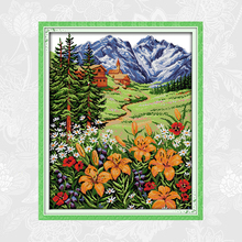 Joy sunday Snow Mountain in Spring Cross Stitch kits DMC Counted Printed on Canvas Embroidery Sets DIY Handmade Needlework joy sunday sweetnessand poetic counted cross stitch 11