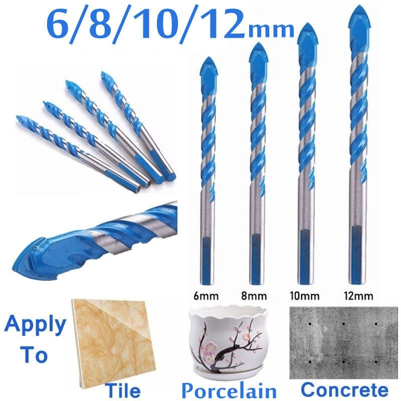 1 Pcs 6/8/10/12mm Stainless Steel Twist Drill Bits For Tile Concrete Wall Wood Glass Drilling Tool Fittings