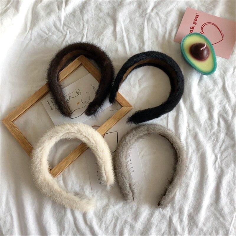 2022 New Ladies Hair Accessories Soft Mink Fur Hair Hoop Wide And Shiny Hair Clip Fashion Wild Hair Band