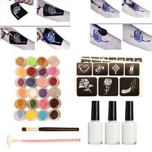 Glitter Powder Temporary Tattoo Children Adults Face Body Painting Art Tools Suit(China)