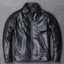 YR!Free shipping.2021 new black soft cowhide jacket.Men 100% genuine leather coat.Dad's leather wear.plus size leather clothes