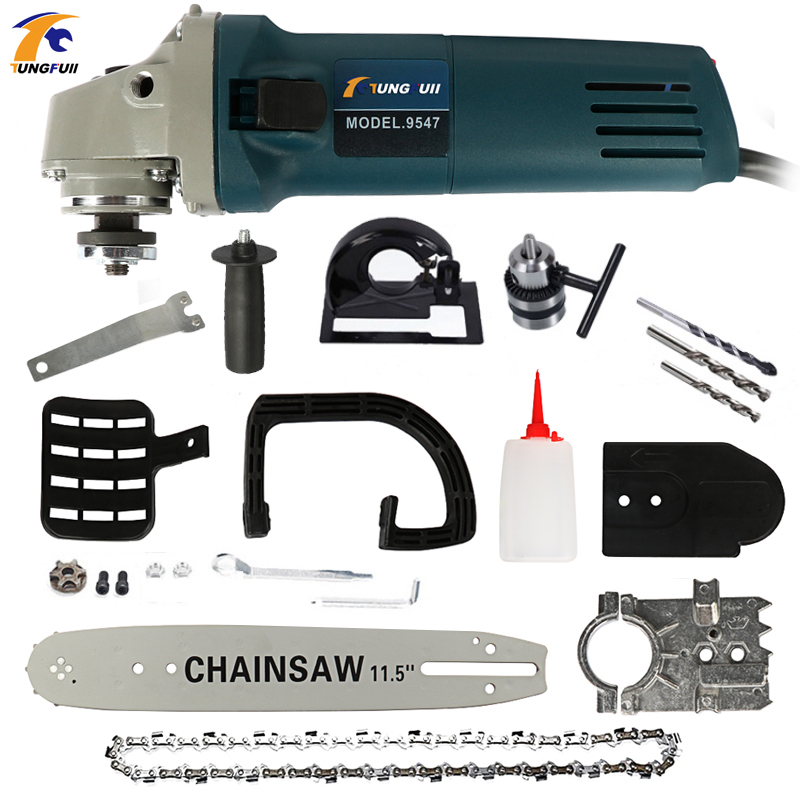 Adjustable Electric Change Angle Grinder + Chainsaw Woodworking Cutting Chainsaw Bracket 1000W 220V 11000rpm 6 Speed
