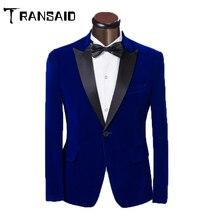 Men Classic Velvet Blazer Suits Formal Jacket Burgundy Royal Blue Wedding Groom