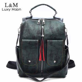 Retro Leather Women Backpack Zipper School Backpacks For Teenage Girls Bag Large Capacity Multifunction Mochila Feminina XA227H - DISCOUNT ITEM  42% OFF All Category