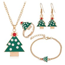 5 Piece Suit Christmas Tree Necklaces Earrings Rings Bracelets For Women Gifts Evergreen Christmas Jewellery Sets Xmas Gifts(China)