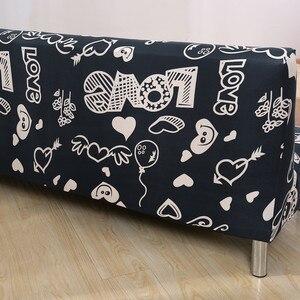 Image 4 - Funda de sofá de LICRA con estampado de corazón para sala de estar, Protector para muebles, seccionales, sin reposabrazos, color negro
