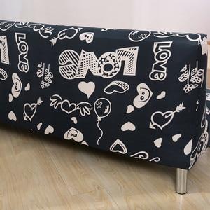 Image 4 - Piękny czarny Spandex serca sofa z nadrukiem pokrywa dla pokoju gościnnego pokrowiec na meble narzuty na kanapę segmentową bez podłokietnika