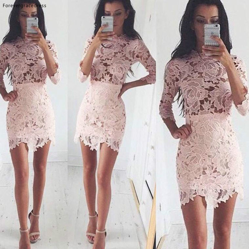 Fashion Pink Lace Sheath Cocktail Dress Vintage High Neck Formal Holiday Club Homecoming Party Dress Plus Size Custom Made
