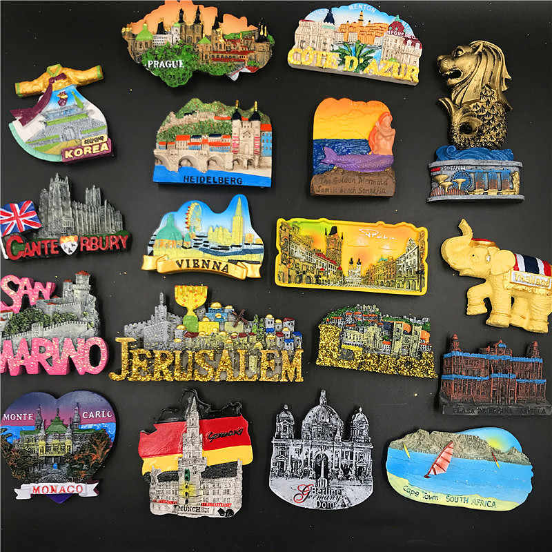 Handmade Resin Fridge Magnet Thailand Korea Germany Vienna Monaco Travel Souvenir Refrigerator Magnetic Sticker Craft Home Decor