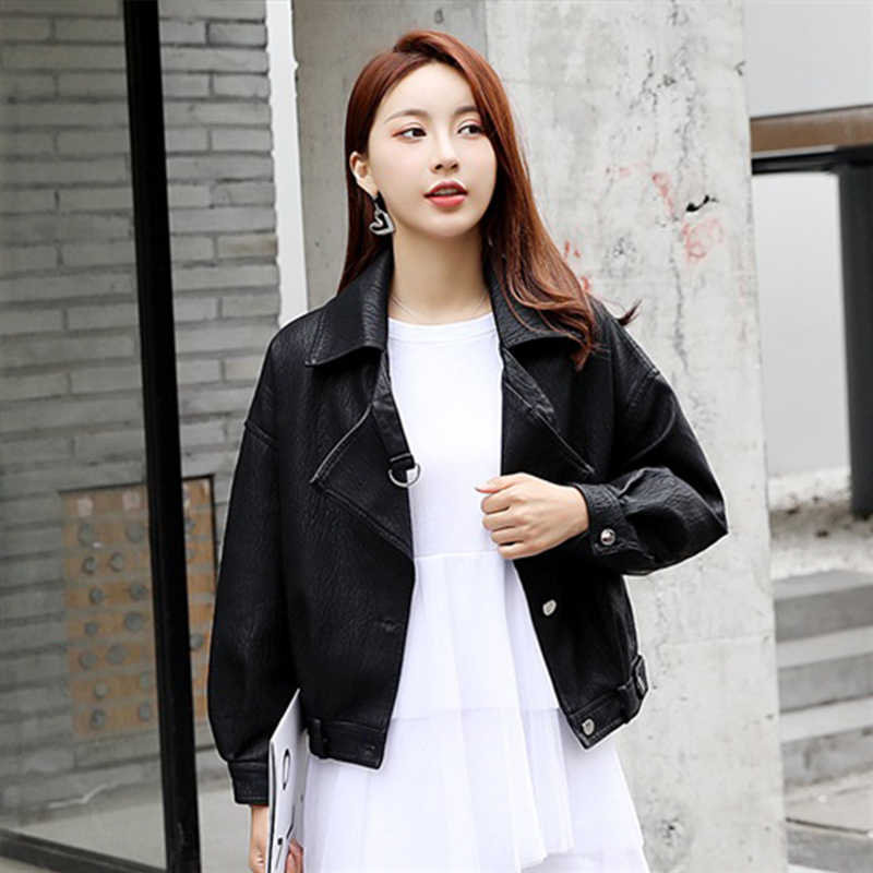 Women Retro Faux Leather Jacket Batwing Sleeve Biker Coat Zipper Motor PU Short Red Jacket Vintage Street Leather Coat