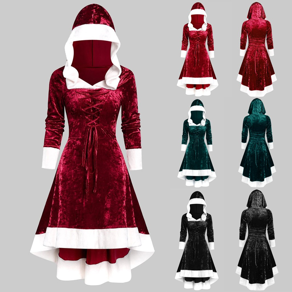 ropa mujer vestidos plus size dress womens christmas dress Long Sleeve Vintage Cloak Lace-up High Low Flannel winter dress robe
