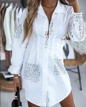 Robe ample à manches longues pour femmes, col en V, chemisier ample, Sexy, taille plus, robe de soirée élégante, vêtements de bureau, chemises