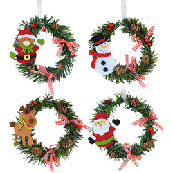 1pcs Mini Christmas Wreath Handmade Wall Hanging Wall Door Decoration Garland New Year Party Christmas Party Decoration