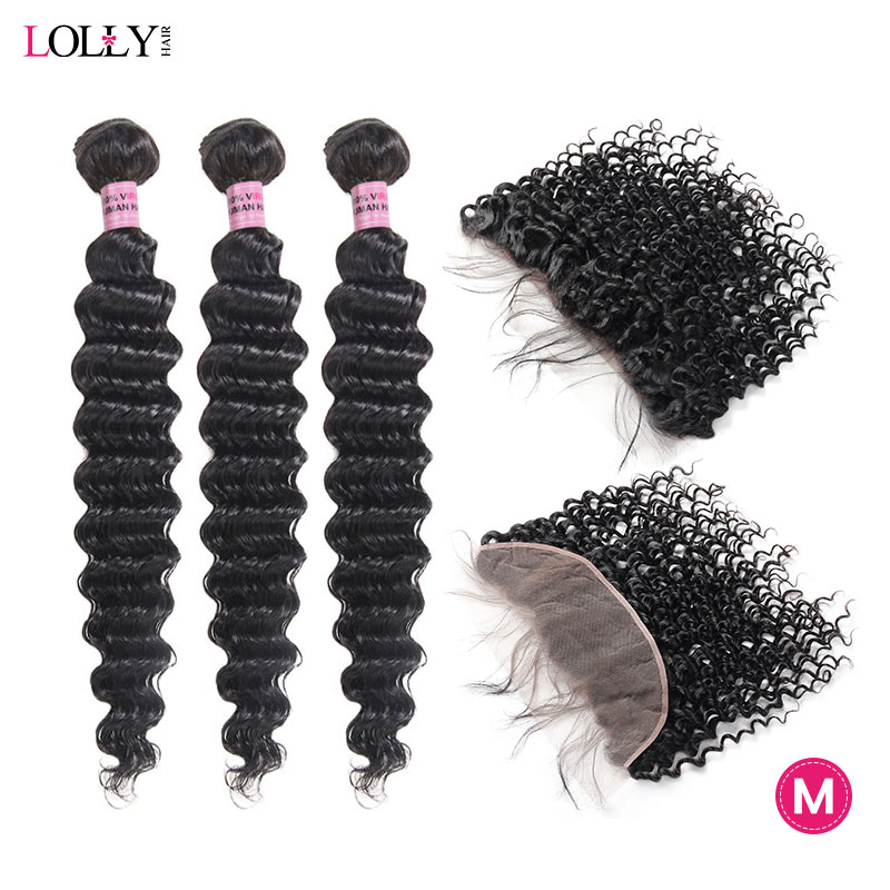 Lolly Brazilian Deep Wave Bundles With Frontal Middle Ration 13x4 Lace Frontal With Bundles Non-Remy Bundles With Closure 8-28