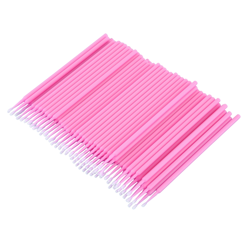 100 Pcs Dental Micro-Brush Disposable Materials Tooth Applicators Medium Fine(pink)