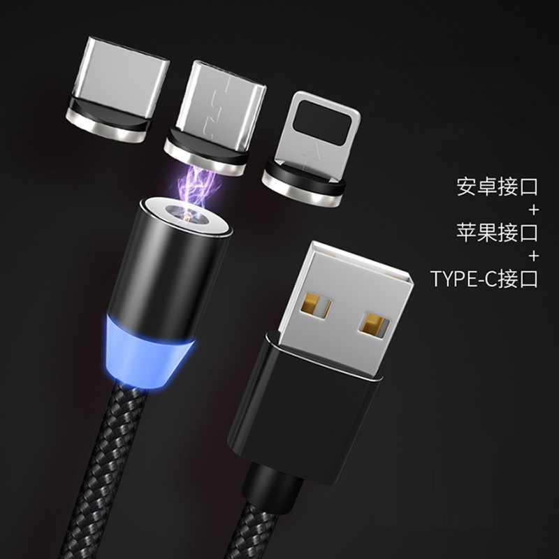 كابل USB مغناطيسي شحن سريع USB نوع C كابل شاحن مغناطيسي شحن البيانات المصغّر USB كابل الهاتف المحمول كابل يو إس بي الحبل