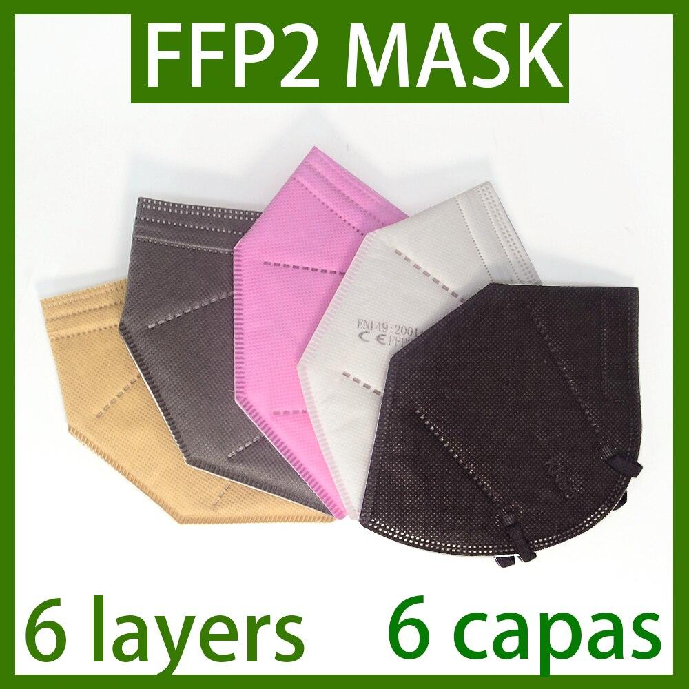 FFP2 masque de protection KN95 poussière masque facial filtre 6 couches bouche masques couverture réutilisable poussière Maske respirant ffp2masque expédition rapide