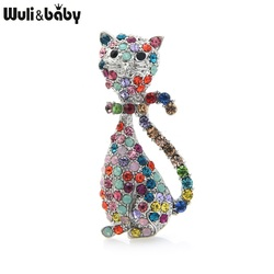 Wuli&baby Classic Lovely Cat Brooches Women Multicolor Rhinestone Cat Animal Pet Party Casual Brooch Pins Gifts