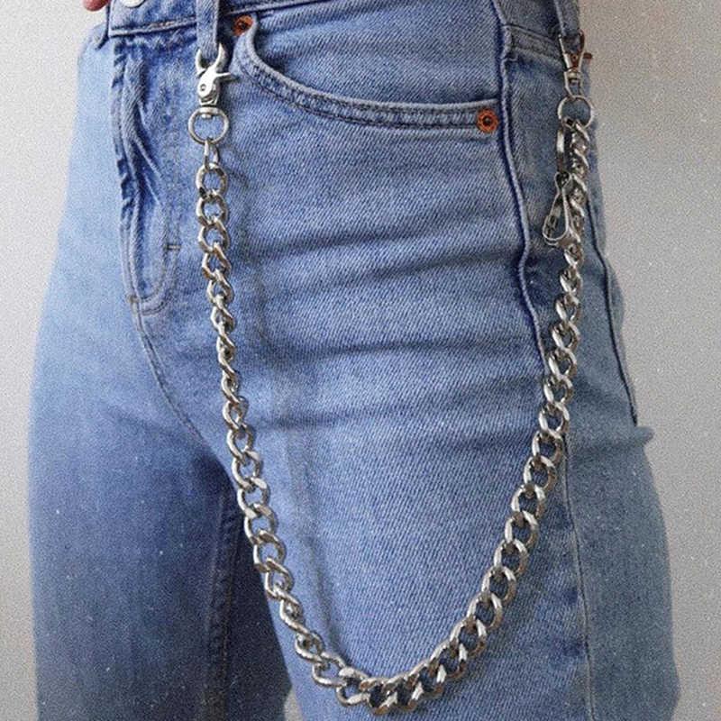 60cm Cadena De La Cintura De Metal Largo Llavero Rock Pantalones Cadena Pantalon Hipster Jean Clave Cartera Cinturon Clip De Anillo De Los Hombres Joyas Hiphop Llaveros Aliexpress