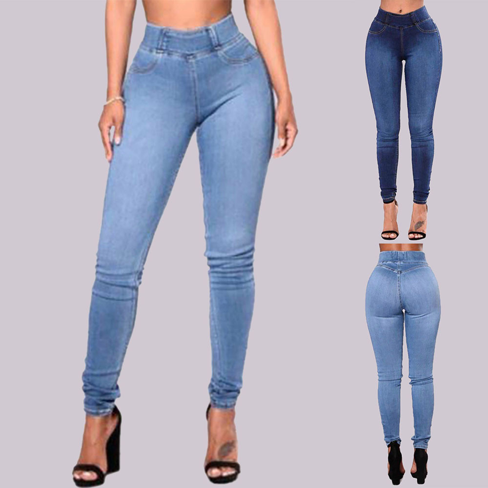 Jeans Woman High Waist Jeans Slim Solid Pockets Ladies Jeans Femme Sexy Skinny Pants Daily Trousers Mujer 2020DGH3