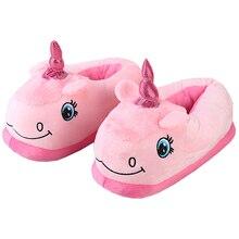 Zapatillas de algodón con dibujos de unicornios para mujer, pantuflas cálidas, tobogán de interior, para invierno
