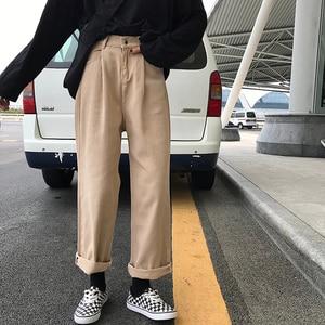 Image 3 - ג ינס נשים Loose גבוה מותן פנאי מלא אורך רחב רגל ז אן כל להתאים קוריאני סגנון פשוט נשים טרנדי harajuku יומי שיק
